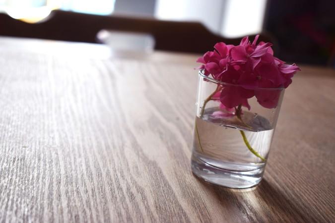 vase transparent ortensia